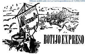Viñeta comercial del Botijo Express con destino a Alicante